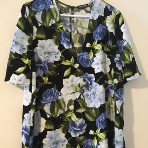 American apparel Black floral shift dress